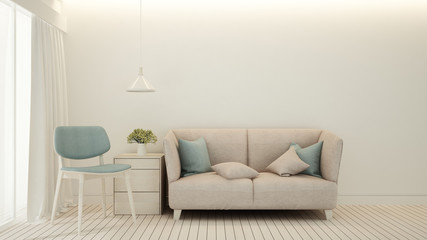 Pink sofa and light blue chair in Living room minimal design - Living room bright tone in house or apartment - Interior simple design - 3D Rendering
