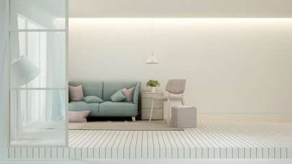 Relax area in Living room minimal design - Living room bright tone in house or apartment - Interior simple design - 3D Rendering