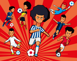 A set of children's soccer players in different sports uniforms. Vector graphics.