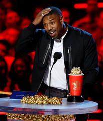 Actor Jordan accepts the Best Villain award at the 2018 MTV Movie & TV Awards at Barker Hangar in Santa Monica