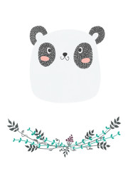 isolated cute kiddie color pencil hand drawn greeting card with an adorable panda and floral wreath border. clip art raster artwork with floral doodles and animal character for kids room decoration.