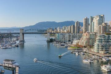 Burrard Bridge and Downtown Vancouver, British Columbia.
