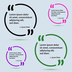 Quote frame in different colors design template collection