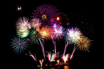 Beautiful fireworks display on black sky