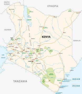 kenya road and national park vector map