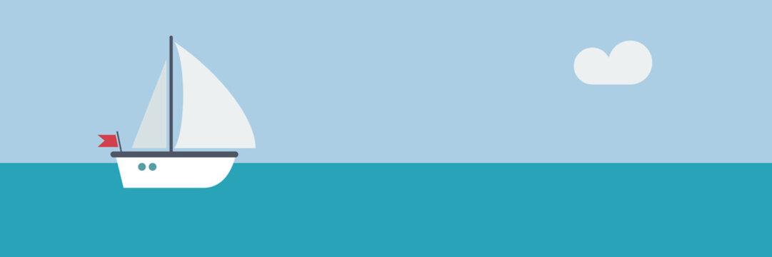 sailboat and skipper background, vector banner