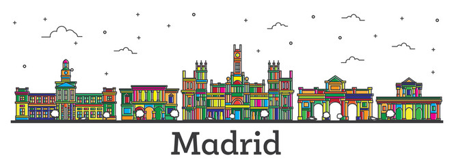 Outline Madrid Spain City Skyline with Color Buildings Isolated on White.