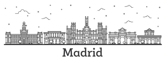 Outline Madrid Spain City Skyline with Historic Buildings Isolated on White.