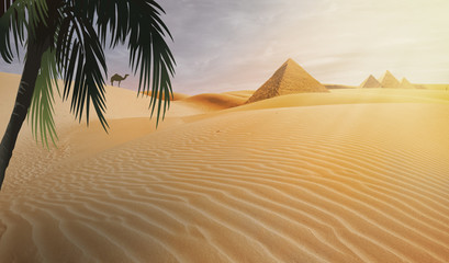 compositing piramid in the egypt desert