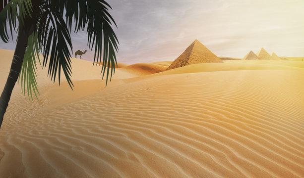 compositing piramid in the egypt desert