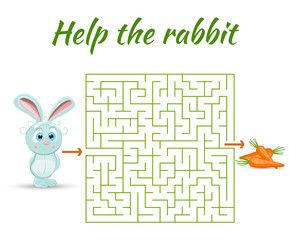 Round maze riddle game, find way your path. Help the rabbit