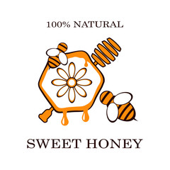 Honey and bee labels for honey logo products badges, isolated on white background. Design elements. Vector illustrations.