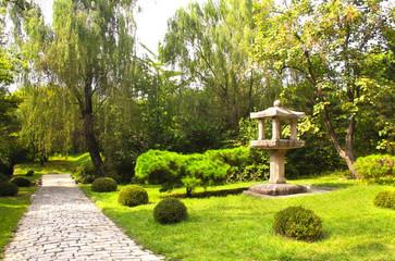 Paving road in ornamental garden, Kesson, North Korea