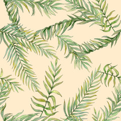 seamless pattern with leaves of palm trees