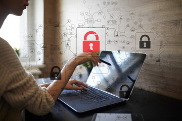 Wall Mural - Cyber attack detection. Internet security, information and data safety concept. GDPR. Privacy.