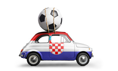 Croatia flag on car delivering soccer or football ball isolated on white background