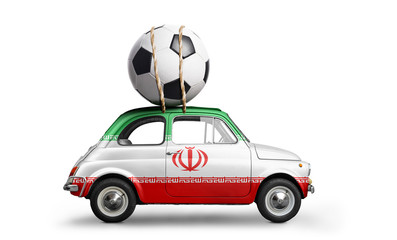 Iran flag on car delivering soccer or football ball isolated on white background