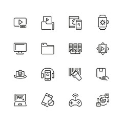 Discovery icons. Set of line icons. Video content, data exchange, online service. Discovery concept. Vector illustration can be used for topics like digital device, multimedia, apps.
