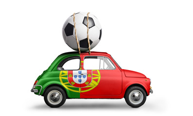 Portugal flag on car delivering soccer or football ball isolated on white background