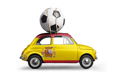 Spain flag on car delivering soccer or football ball isolated on white background