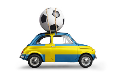 Sweden flag on car delivering soccer or football ball isolated on white background