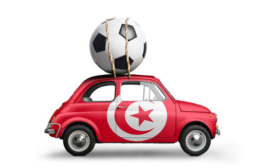Tunisia flag on car delivering soccer or football ball isolated on white background