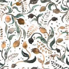 Seamless pattern or background. Watercolor illustration of  pomegranate.