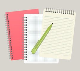 Three notepads and a pen. Vector illustration