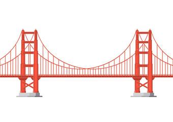 Vector illustration. Golden Gate Bridge on a white background. Flat style.