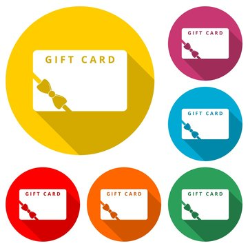 Gift card icon, Discount coupon, color icon with long shadow