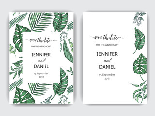 Template for wedding invitation. Illustration with exotic leaves.
