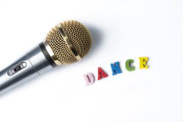Microphone on a white background with the word dance.