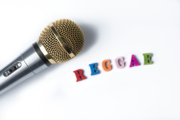 Microphone on a white background with the words Reggae