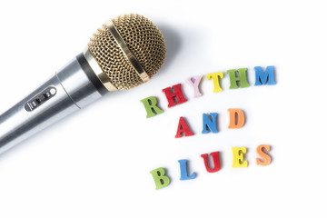 Microphone on a white background with the words the RHYTHM and BLUES