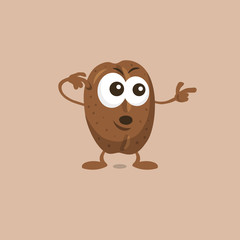 Illustration of cute surprised coffee bean mascot pointing to the right isolated on light background. Flat design style for your mascot branding.