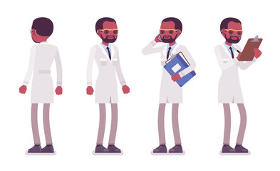 Male black scientist standing