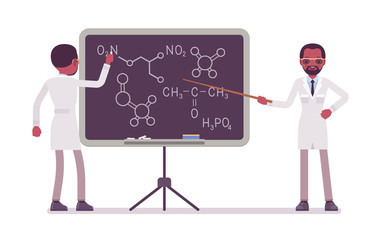Male black scientist at the blackboard