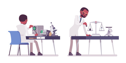 Male black scientist measuring