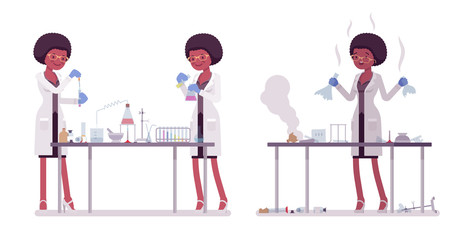 Female black scientist making chemical experiments