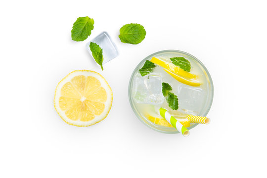 Creative layout - fresh lemonade and ingredients isolated