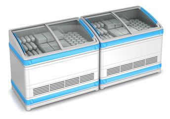 Freezer showcase bonnet. 3d image isolated on white.