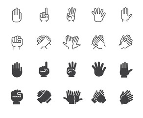 Set of hands gesticulation buttons. Collection icons in line and glyph designs. Handshake, applause, index finger, palm, high five.and other graphic symbols. Vector illustration isolated