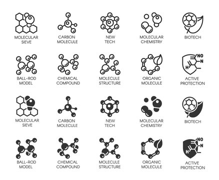 Set of molecule model buttons. Collection icons in line and glyph designs for scientific, chemistry, physical, medical, educational projects. Outline and black flat logos. Vector illustration isolated