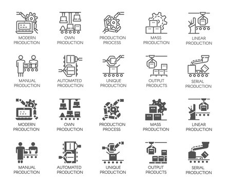 Set of of automatic and manual production buttons. Collection icons in line and glyph designs. Outline and black flat pictograms. Vector illustration isolated on white