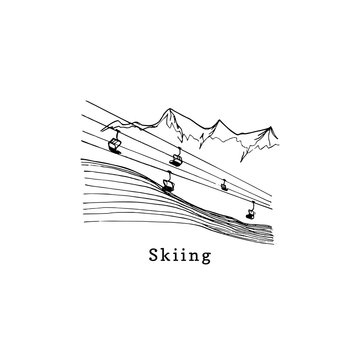 Vector hand sketches of ski lift.Mountain downhill illustration for poster, label etc.