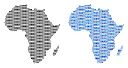 Pixel Africa map variants. Vector territorial schemes in black color and cold blue color tones. Abstract composition of Africa map created with sphere pixel matrix.