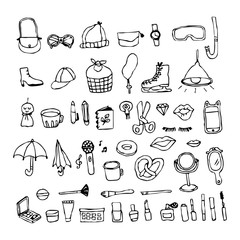 Doodle,Hand drawing cosmetic objects element
