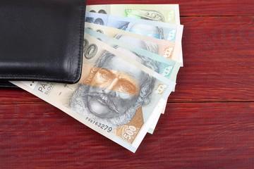 Slovak money in the black wallet