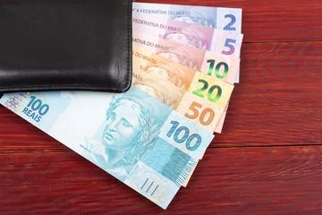 Money from Brazil in the black wallet
