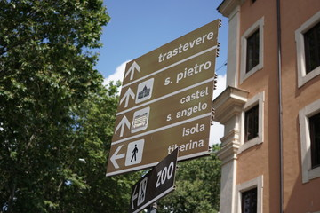 Italian signposts to Trastevere, Saint Peter cathedral, Castel Sant'Angelo, Tiber island and zoo